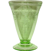 Depression Glass Footed Tumbler ~ Rose Cameo ~ Belmont Company ~ 1931