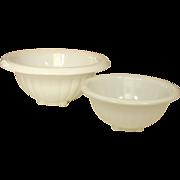 "White Depression Glass Mixing Bowls ~ Hocking Company ~ 6 3/4"" & 8 1/2"""