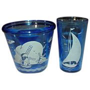 "Hazel Atlas ~ Cobalt with White ~ ""Ships"" or ""Sailboat"" Ice Tub and Tumbler ~ Late 1930's"