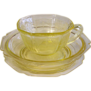 Yellow Depression Glass ~ Roxanne and Princess ~ 3 piece group