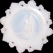 "Westmoreland Glass ~ Opal Milk Glass Plate ~ Ancient Castle ~ 7 1/2"" ~ Scarce Grossman Mark"