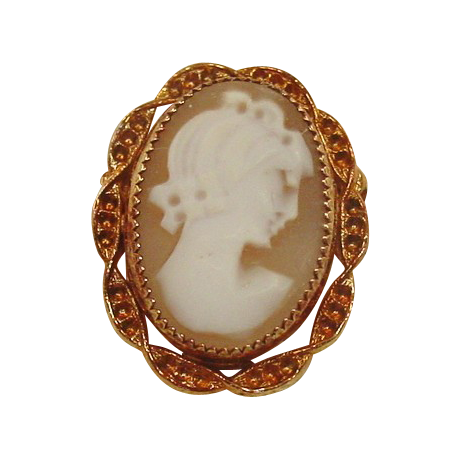 Handcarved Shell Cameo Pin ~ Rose Gold-filled Setting ~ Original Box