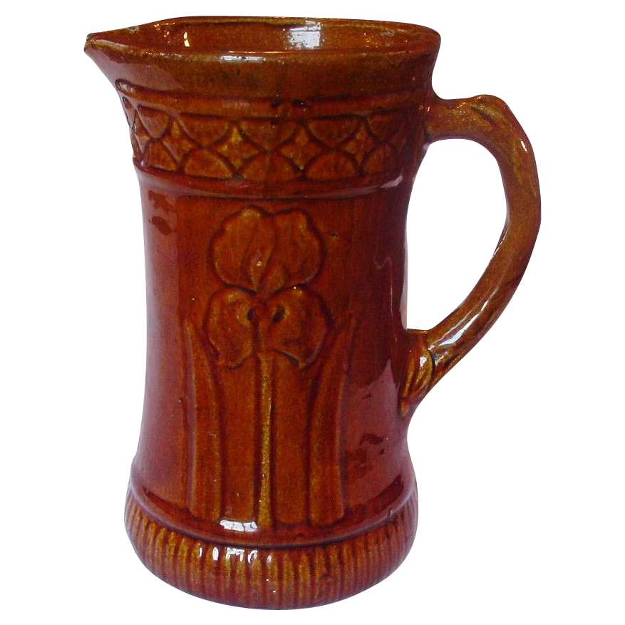 Brown Glaze Stoneware Pitcher ~ Relief Molded Floral Design ~ Circa 1900