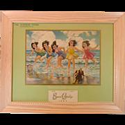 Dionne Quintuplets ~ 1943 Advertising Calendar ~ Framed ~ Mint! - Red Tag Sale Item