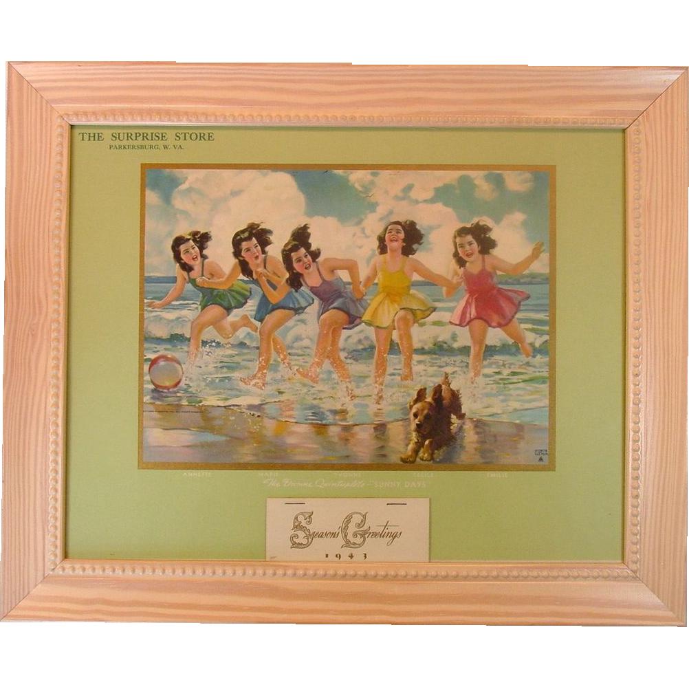 Dionne Quintuplets ~ 1943 Advertising Calendar ~ Framed ~ Mint!