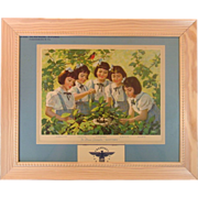 Dionne Quintuplets ~ 1944 Advertising Calendar ~ Framed ~ Mint!
