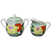 Made in Japan ~ Hand-painted Lustreware ~ Creamer & Sugar