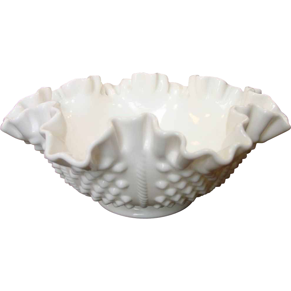 "Vintage Fenton Hobnail Rope 8"" Double Crimped Bowl ~ Milk Glass"