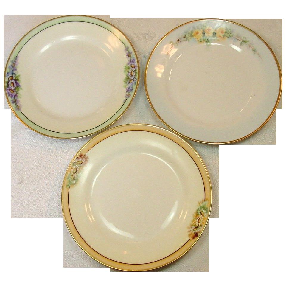 Nippon ~ Handpainted Plates ~ Set of Three ~ Gilt Trim