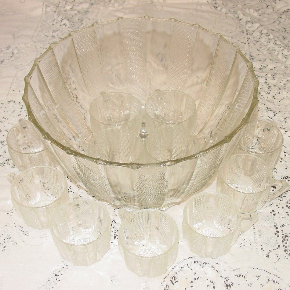 Jeannette Glass ~ Dewdrop Pattern ~ Punch Bowl, Stand & Cups
