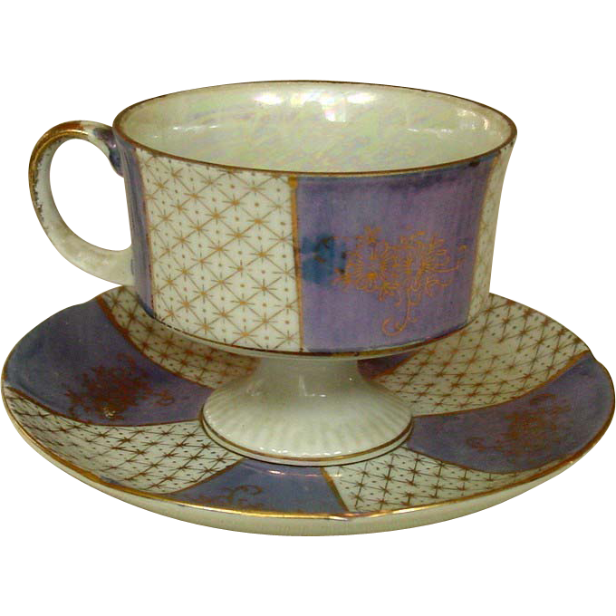 Lustreware Footed Cup and Saucer Set ~ Gilt Decoration