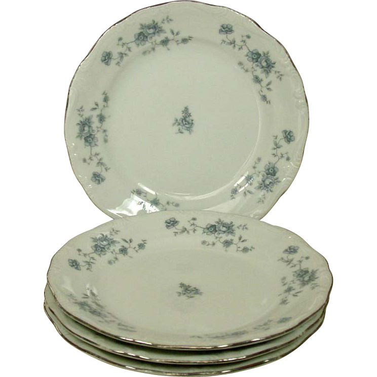 "Johann Haviland ~ Bavaria ~ ""Blue Garland"" Bread & Butter Plates"