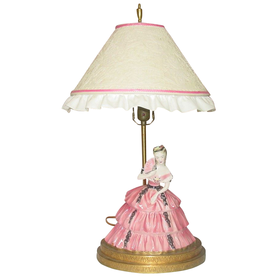 Figural Lamp ~ Antebellum Belle in Pink Dress ~ Fancy Metal Base