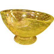 Art Glass Bowl ~ Murano Style, Footed, Bubble Pattern, Yellow & Clear