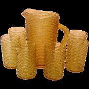 Anchor Hocking Glass ~ Soreno, Honey Gold, Juice Set ~ 1966-70