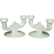 Vintage Fenton ~ Daisy & Button ~ Double Candle Holders, Pair, Milk Glass
