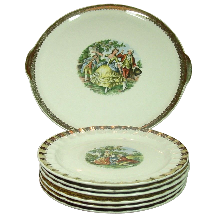 Prim Rose China Company ~ Colonial Courting Couple ~ Cake Set