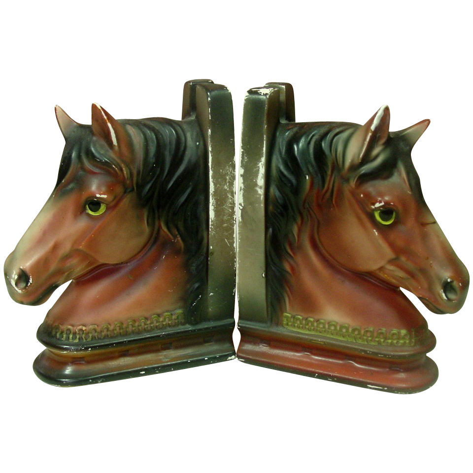 Horse Bust Bookends ~ Ceramic ~ Handpainted