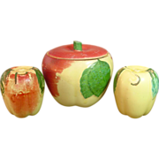 Hull Pottery, Blush Apple, Salt & Pepper and Covered Jar Set