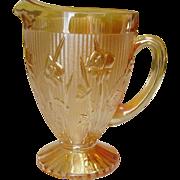 Jeannette Glass, Iris pattern, Pitcher, Iridescent, circa 1930