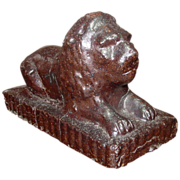 Glazed Terra Cotta Reclining Lion Garden Figure, Late 19th Century