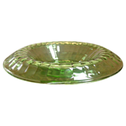 Depression Era, Hocking Glass, Block Optic, Green Console Bowl