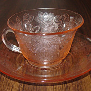MacBeth-Evans ~ Dogwood pattern ~ Thin Rim Cup & Saucer ~ Pink