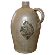 Antique Stoneware Jug, 1 Gallon, Semi-Ovid, Strange Face on Side