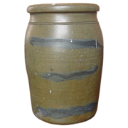 Cobalt Decorated Pennsylvania Stoneware Storage Jar, Three Striper