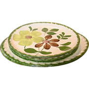 Blue Ridge Southern Potteries ~ 3 Plates, 1 Platter ~ Green Briar