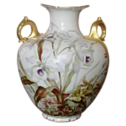 CAC American Belleek Vase ~ Handpainted Florals, Gilt ~ Beautiful!