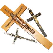 Three Old Catholic Crosses ~ Pectoral Crucifix ~ Wood, Ebony, Priest