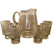 Vintage Anchor Hocking Crystal Pitcher & Tumblers ~ Cut Floral Design