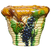 Majolica Planter ~ Grapes, Leaves, Vines Design ~ Multicolor Glaze