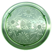 Jeannette Glass ~ Sunflower Pattern Cake Plate, Green
