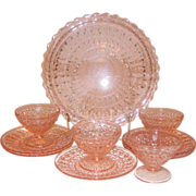 Pink Mid-Century Glass, Jeannette Holiday pattern, Dessert Set
