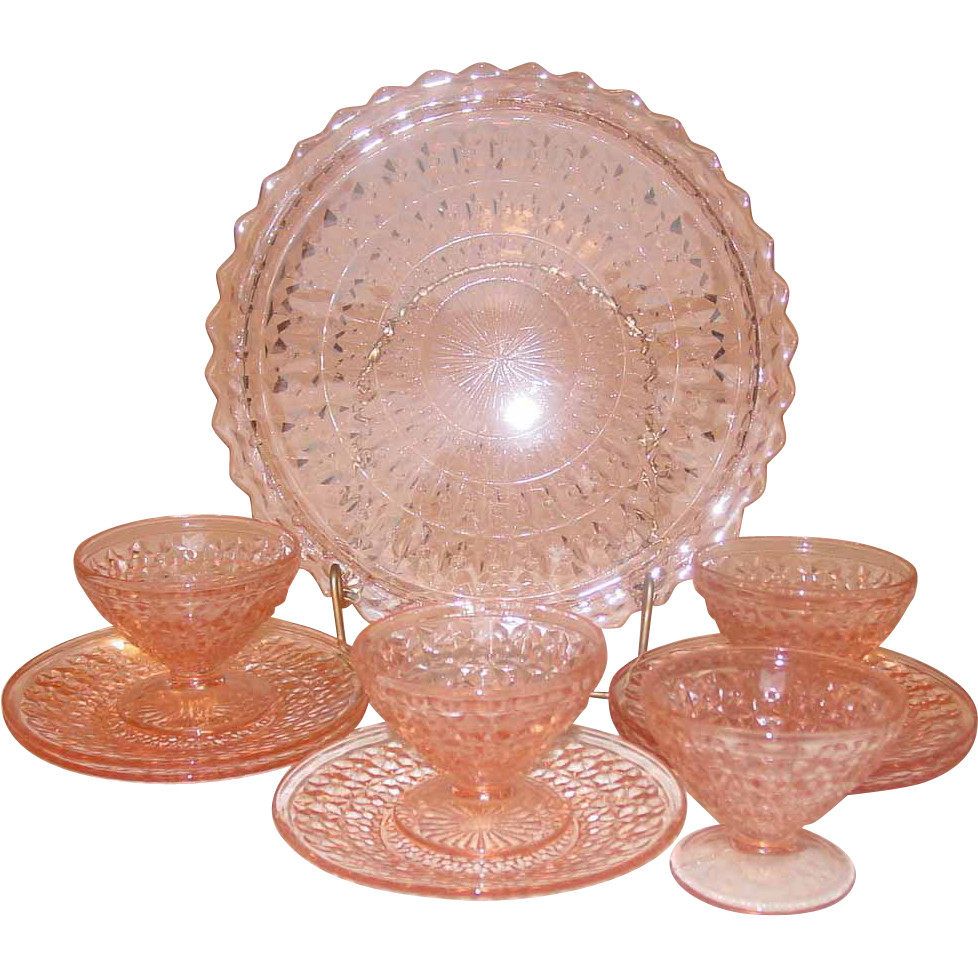 Pink Mid-Century Glass, Jeannette Holiday pattern, Dessert Set