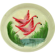Vintage Handpainted Serving Tray, Pink Flamingos, Miami Beach