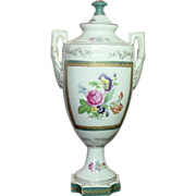 Large Hand Painted Porcelain Urn with Handles & Lid, Wildwood