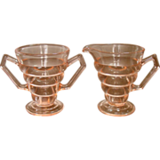 Depression Pink Glass Creamer and Sugar Set