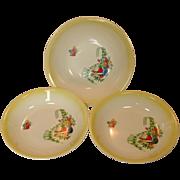 "Paden City Pottery ~ Three ""Trellis"" pattern Serving Bowls"