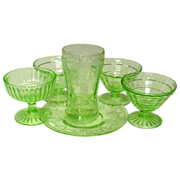 Green Depression Glass Group, Cameo, misc. sherbets