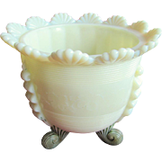 """Jackson"" Northwood Custard glass, ""Fluted scrolls"", ""Klondyke"" spooner"