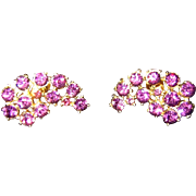 Coro signed Vintage jewelry, amethyst goldtone earrings