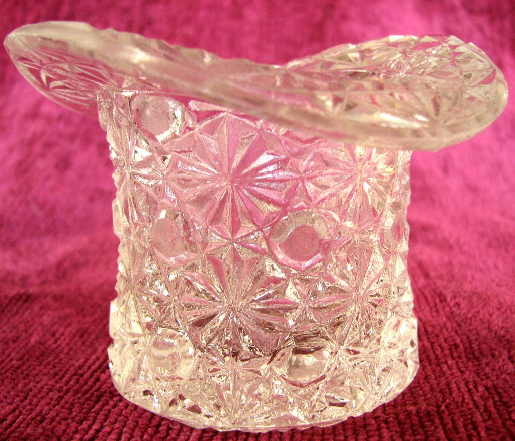Pressed glass Advertising toothpick, top hat figural, Wormser Hats