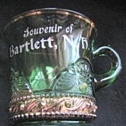 U.S. Glass green Lacy Medallion, Colorado, souvenir mug