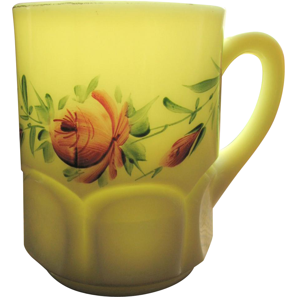 Jefferson custard glass, Ribbed thumbprint mug, souvenir