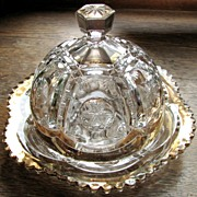 "Eapg Tarentum Glass ""Frost Crystal"" pattern, butter or cheese dome"