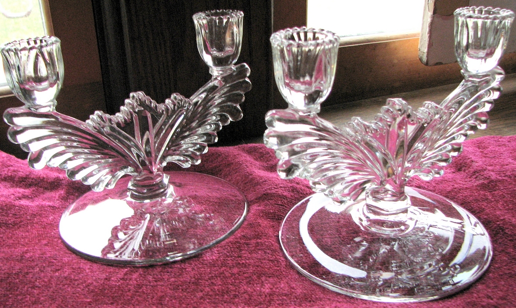 Tiffin Glass double candle holders, Elegant candlestick pair