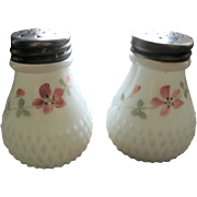 Victorian milk glass salt shaker set, Diamond base, Sawtooth